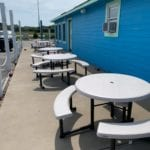 JImmy's seafood buffet exterior picnic tables