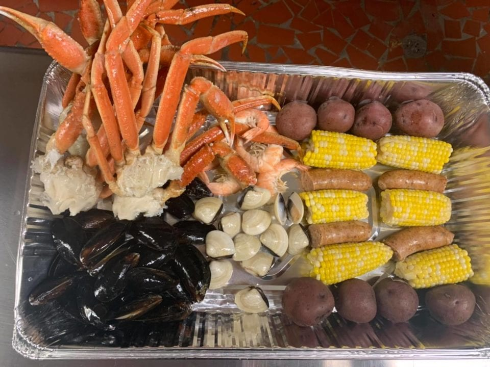 JImmy's seafood buffet seafood boil tray