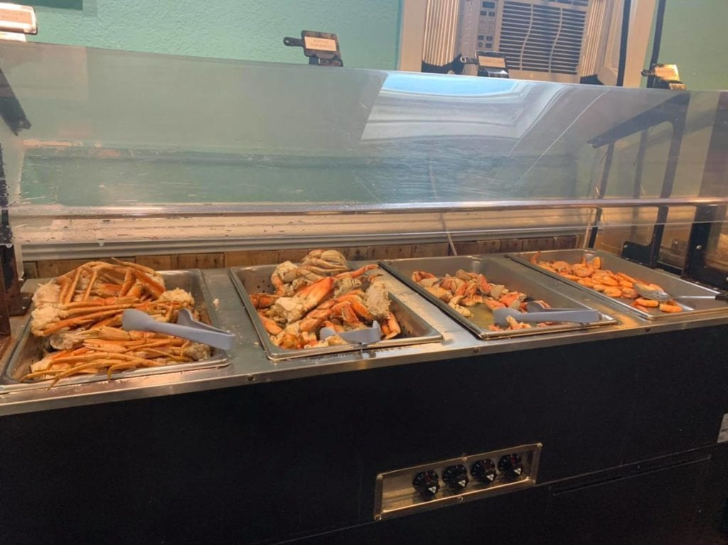 crab legs on the buffet