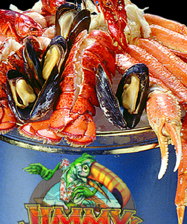 """Jimmy's Seafood Buffet graphic representation of a bucket of crab legs and seafood with text below """"buy merch!"""""""